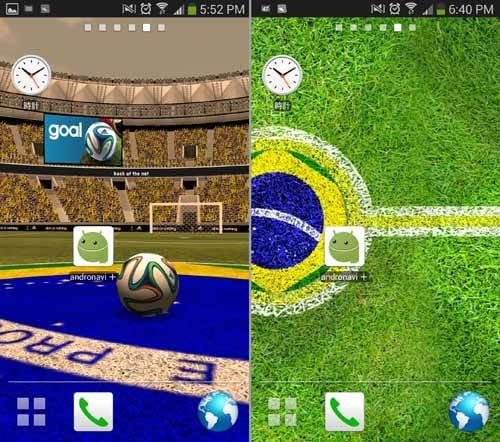 adidas 2014 FIFA World Cup LWP:ボールをタップするとゴールに向かってゆく(左)2Dモードはスタジアムの雰囲気が感じられる壁紙になる(右)