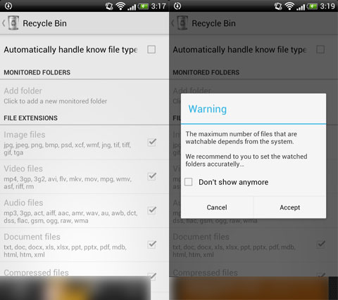 Recycle Bin:何よりも先に「Automatically~」のチェックをONに(左)「Accept」をタップしよう(右)
