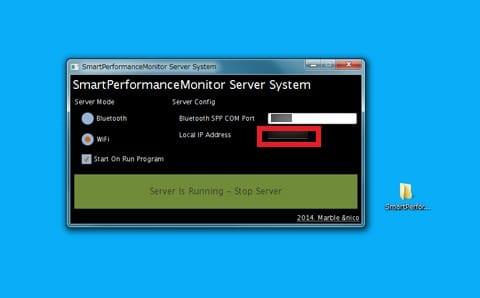Smart Performance Monitor:PC側の画面。アプリケーションを起動させて、Local IP Addressを確認しよう