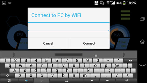 Smart Performance Monitor:スマホ側では、PCの画面に表示されたLocal IP Addressを入力する