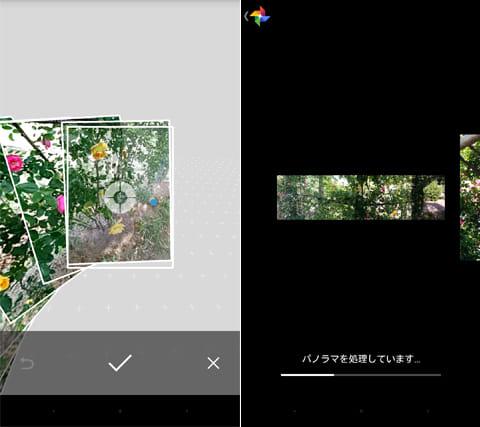 Googleカメラ:パノラマ撮影画面(左)パノラマ写真(右)