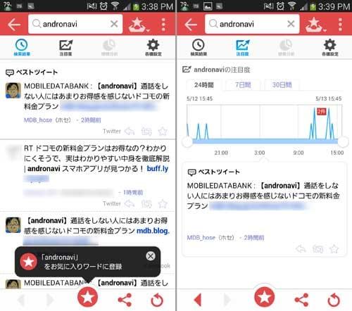 Twitter検索の決定版! Yahoo!リアルタイム検索:検索をかけるとその話題をしているツイートがヒットするかも(左)注目度も確認できるので先取りトレンドを見つけよう(右)