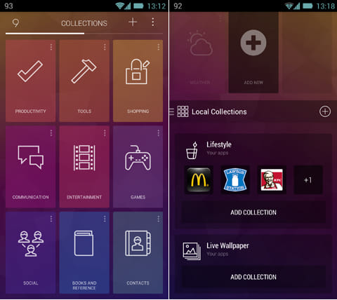 9 Cards Home Launcher:COLLECTIONSのジャンル一覧(左)COLLECTIONS内のカテゴリは自由に追加が可能(右)