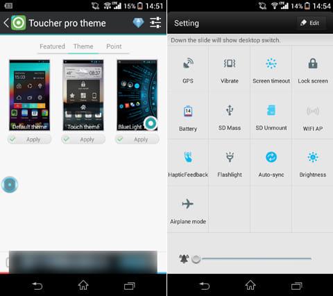 Blue Light Toucher Theme GO:『Toucher Pro』の「Theme」から本アプリを選択(左)画面右のメニューボタンから、トグル機能の編集も可能(右)