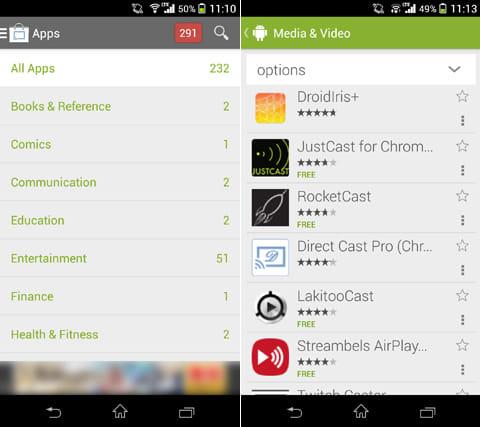 Cast Store for Chromecast:ジャンル毎にChromecast対応のアプリが多数ある事に驚き(左)アイコンをタップするとGoogle Playに遷移する(右)