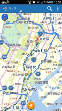 自転車NAVITIME:現在地周辺の地図を表示