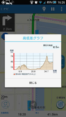 自転車NAVITIME:高低差のグラフも見やすい