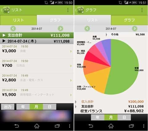 """2秒家計簿""""おカネレコ"""" シンプルだから続く無料家計簿アプリ:画面下部の「リスト」から入力情報を確認(左)グラフ表示も見やすい(右)"""