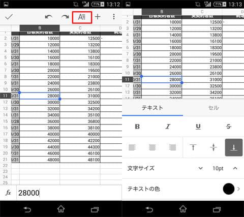 Googleスプレッドシート:「A」アイコンのタップで書式設定(左)設定メニュー(右)