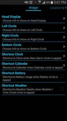 Super Clock Widget:すべて英語表記だが、上から4つまでを設定すれば使える