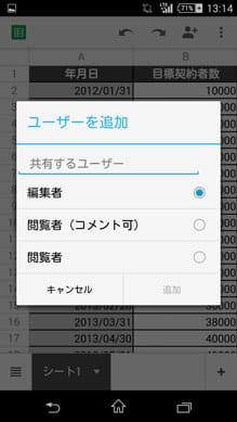 Googleスプレッドシート:ユーザとファイルを共有できる