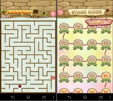 迷路の王:てんとう虫をゴールまで導け!(左)ステージ数は1000(右)