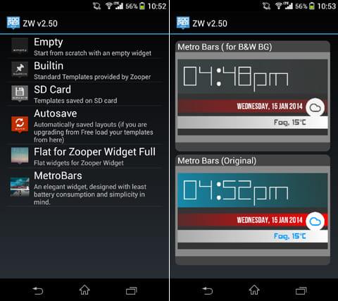 MetroBars (For Zooper Widget):「MetroBars」を選択(左)好きなデザインを選択(右)
