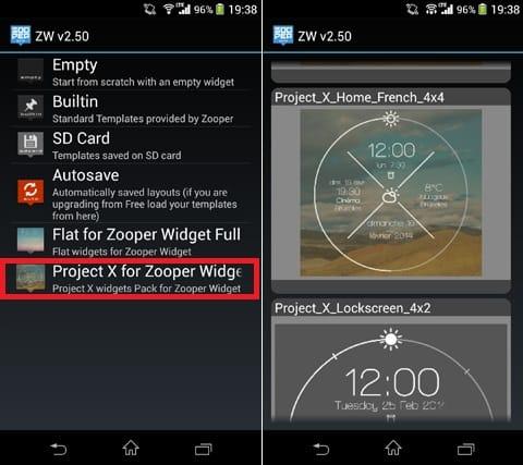 Project X for Zooper Widget:本アプリを選択(左)必要な機能が備わったデザインを選ぼう(右)