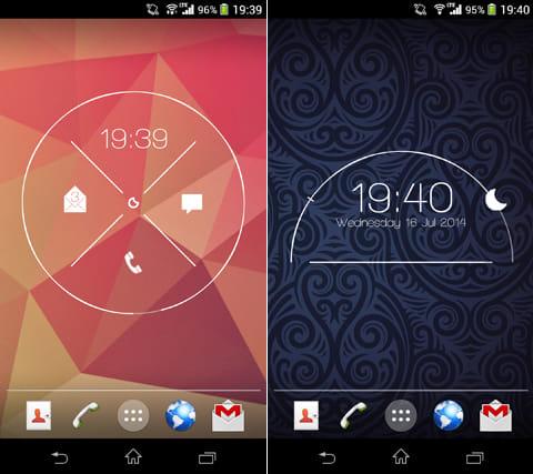 Project X for Zooper Widget:電話やメールなどをウィジェットから起動できる(左)半円タイプのデザインもある(右)