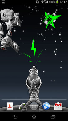 Space Junk Live Wallpaper:浮遊物をタップすると攻撃できる