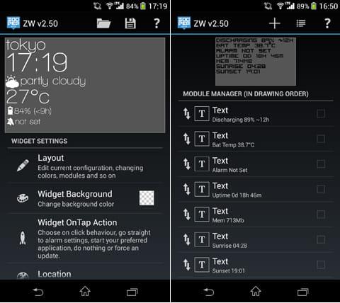 Zooper Widget Pro:「Layout」から文字の大きさやフォント等を変更できる