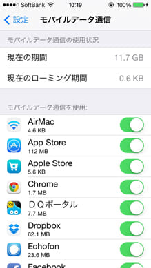 iPhoneのデータ通信量表示。アプリごとにモバイル通信をオフにすることも同じ画面から可能