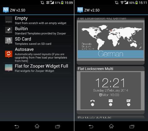 Flat for Zooper Widget Full:「Flat for Zooper Widget Full」を選択(左)テーマ一覧より好きなデザインを選択(右)