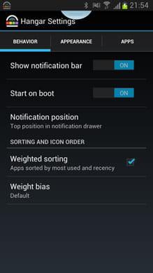 Hangar - Smart app shortcuts:アイコンの非表示や表示アプリ数の変更も行える
