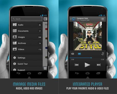 ダウンローダ&プライベートブラウザ無料:ファイルマネージャ機能(左)プレイヤーを内蔵しているので、メディアファイルを再生可能(右)
