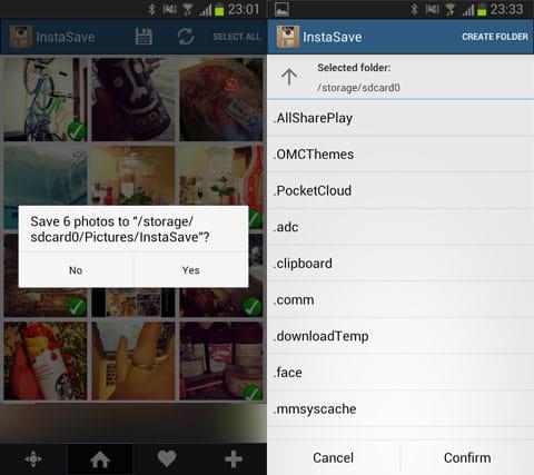 InstaSave - Instagram Save:保存先の変更はMENUから簡単に行える