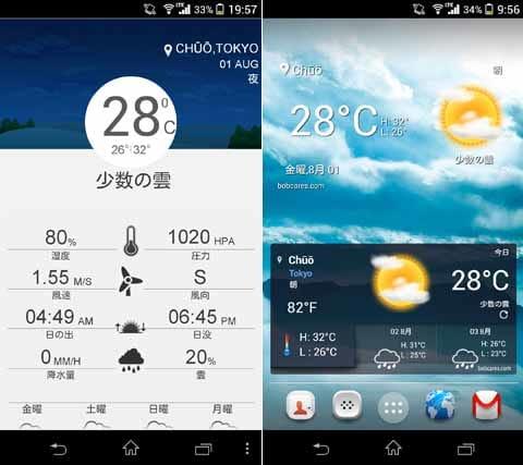 ボブの天気:画面上部のグラフィックは時間と共に変化する(左)ウィジェットは2種類用意されている(右)