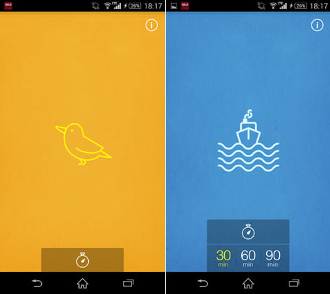 MUJI to Sleep:画面を左右にフリックして好きな音を聞こう(左)タイマー機能もあるので安心(右)