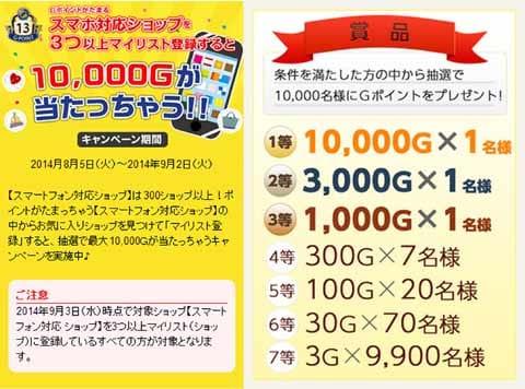 お気に入りのショップをマイリスト登録すると、最大10,000Gが当たる