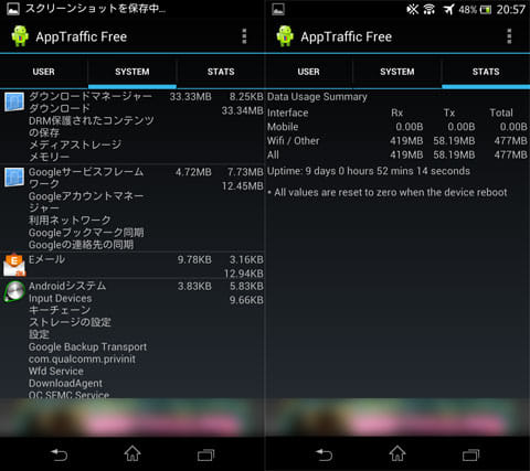 AppTraffic Free:「SYSTEM」の通信量(左)トータルの通信量(右)