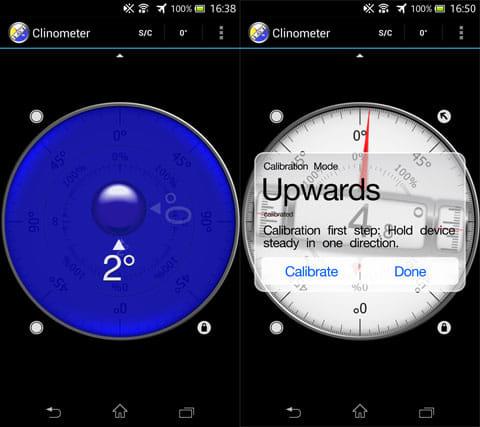 Clinometer + bubble level:水準器(左)キャリブレーション完了(右)