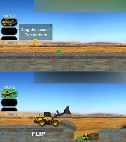 Tractor Crew:転がっている障害物を落とし穴に運ぶだけ!