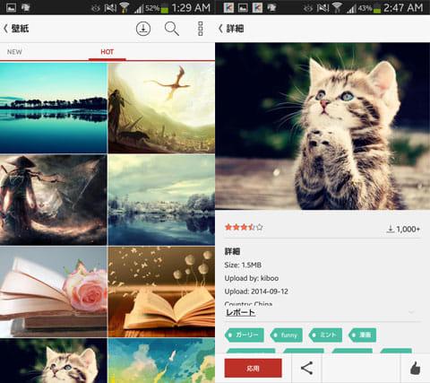 Kitty Play EX(FREE theme&more):「壁紙」の一覧画面(左)「壁紙」の詳細画面(右)