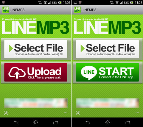LINEMP3 - LINEで音声ファイルを送れるアプリ:送りたい音声ファイルを選択して「Upload」(左)その後、「START」から『LINE』を起動(右)