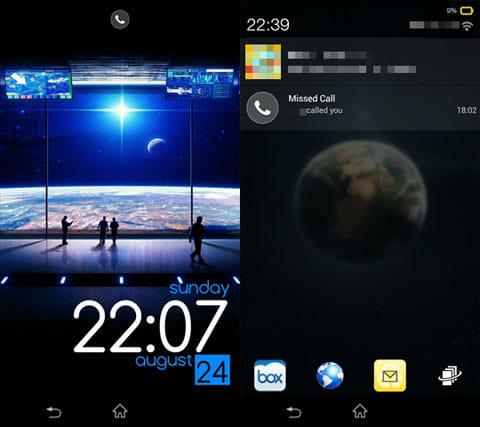 Lock Screen Club: HD Themes:テーマを適応したロック画面(左)通知のチェックも可能(右)