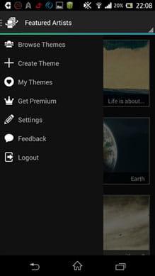 Lock Screen Club: HD Themes:メニューから「Create Theme」を選択