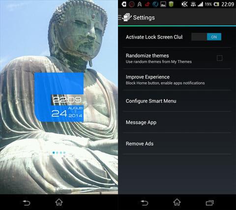 Lock Screen Club: HD Themes:サクッと自作ロック画面が完成(左)設定画面(右)
