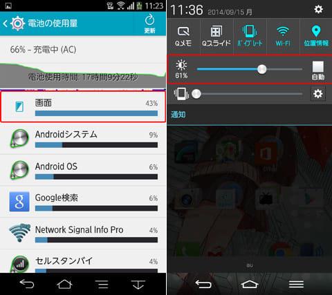 画面の消費電力は結構大きい(左)通知パネル(左)や端末設定などで輝度が高すぎないかどうかチェック