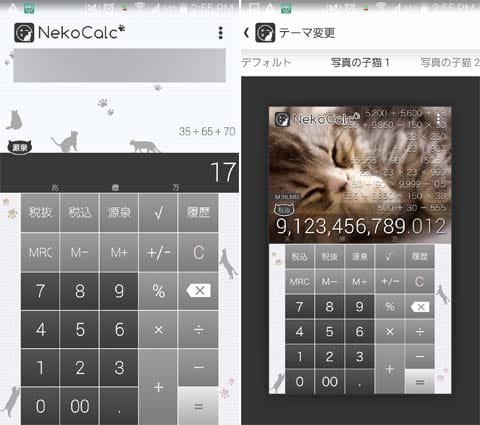 NekoCalc(電卓):源泉徴収額を出してくれる(左)猫の写真のデザインにも変更が可能(右)