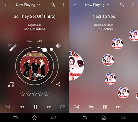 Wiizm Music Player:独特のUIが魅力的(左)曲選択はアイコンをクルクルと回すだけ(右)