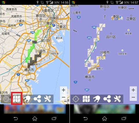 マッピング! ~何十年分の旅の軌跡を一枚の地図に~:モードは「経過時間」「通過回数」「アドベンチャー」の3種類(左)「アドベンチャーモード」。通った場所のみ地図が見える(右)