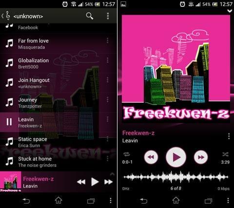 Stellio 音楽プレーヤー:アーティスト毎のリストでの再生画面(左)曲を拡大した再生画面(右)