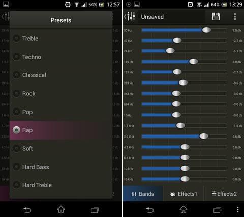 Stellio 音楽プレーヤー:標準に搭載されているイコライザの設定画面(左)自分で音質を好みに設定できる(右)
