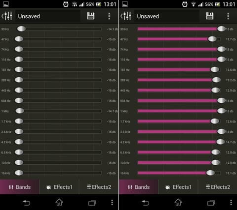 Stellio 音楽プレーヤー:イコライザの全べての音質を下げてしまった状態(左)全部を上げた状態(右)