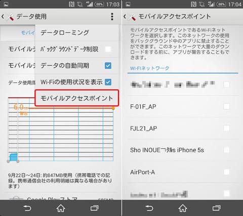 Wi-Fiアクセスポイントで通信制限を行いたい場合は、別途アクセスポイントを指定して行う必要がある(画像は「Xperia ZL2 SOL25」の場合)
