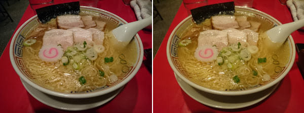 【「Z3」で撮影】コントラストがやや強めで、チャーシューが特にリアルに写っている(左)【「Z2」で撮影】「Z3」と比較して、ややぼんやりしているように見える(右)