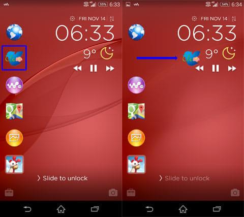LOCKER - CM Locker:起動したいアイコンを選択(左)右へスワイプ操作で起動(右)