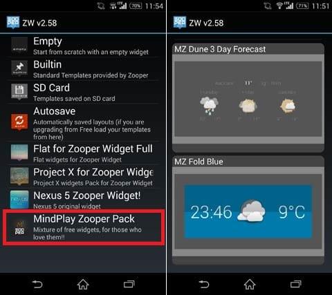 MindPlay Zooper Pack:本アプリを選択(左)好みのテーマを選択しよう(右)