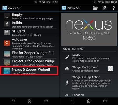 Nexus 5 Zooper Widget!:設定画面で本アプリを選択(左)文字サイズ等のカスタマイズもできる(右)
