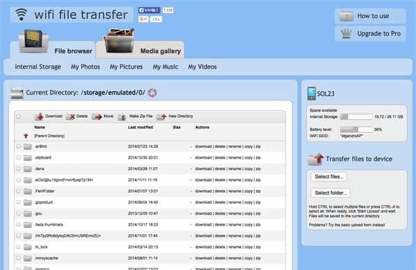 WiFi File Transfer:接続に成功するとスマホ内のファイルが一覧表示される